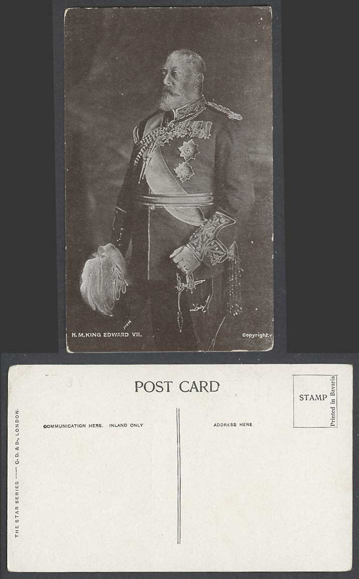 H.M. KING EDWARD VII 7th His Majesty KEVII British Royalty Old Postcard Medals