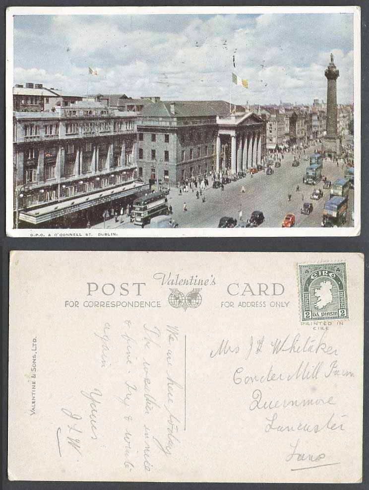 Ireland Dublin Old Postcard G.P.O. O'Connell Street General Post Office Flag Car