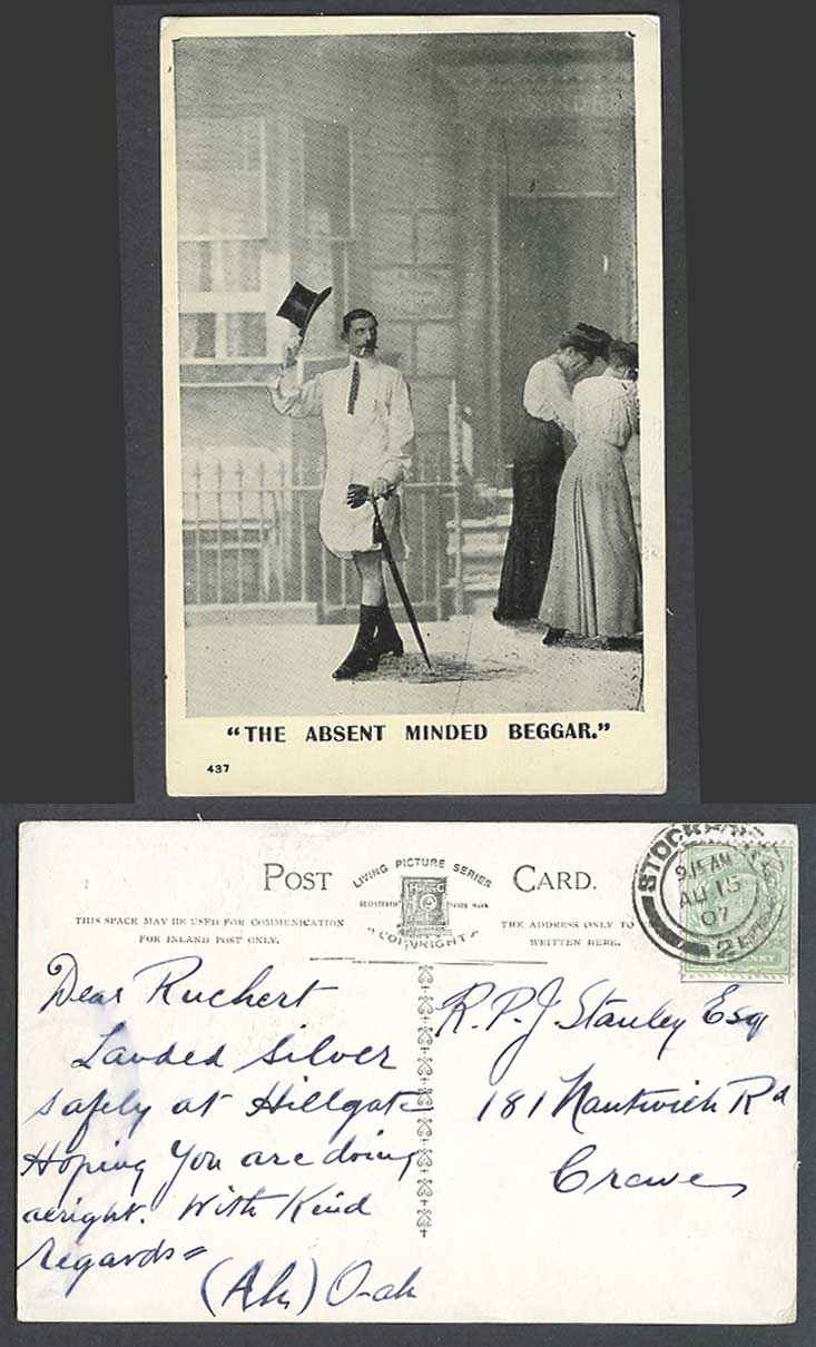 The Absent Minded Beggar. Man wears no Trousers Women Giggling 1907 Old Postcard