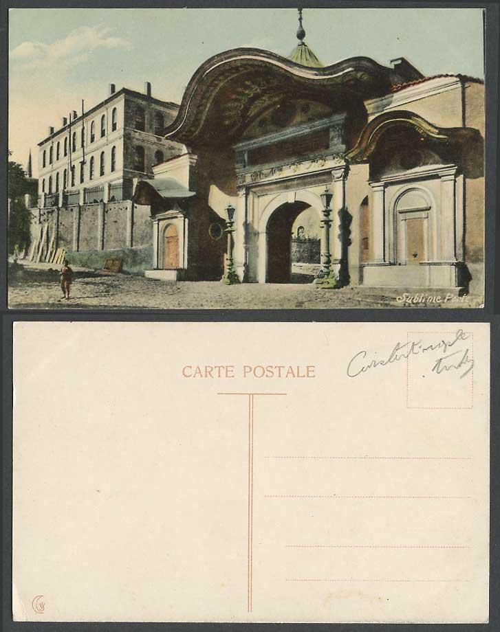 Turkey old colour postcard constantinople sublime porte for Sublime porte