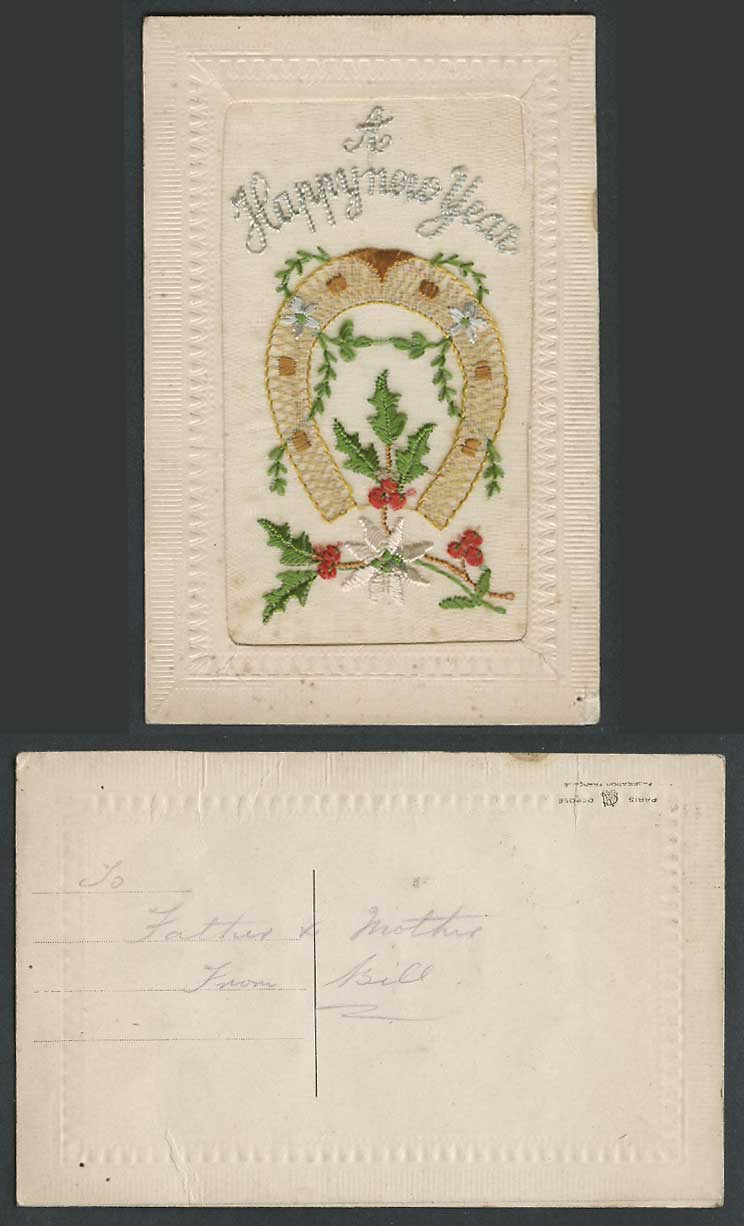 WW1 SILK Embroidered Old Postcard A Happy New Year, Horseshoe Horse Shoe Flowers