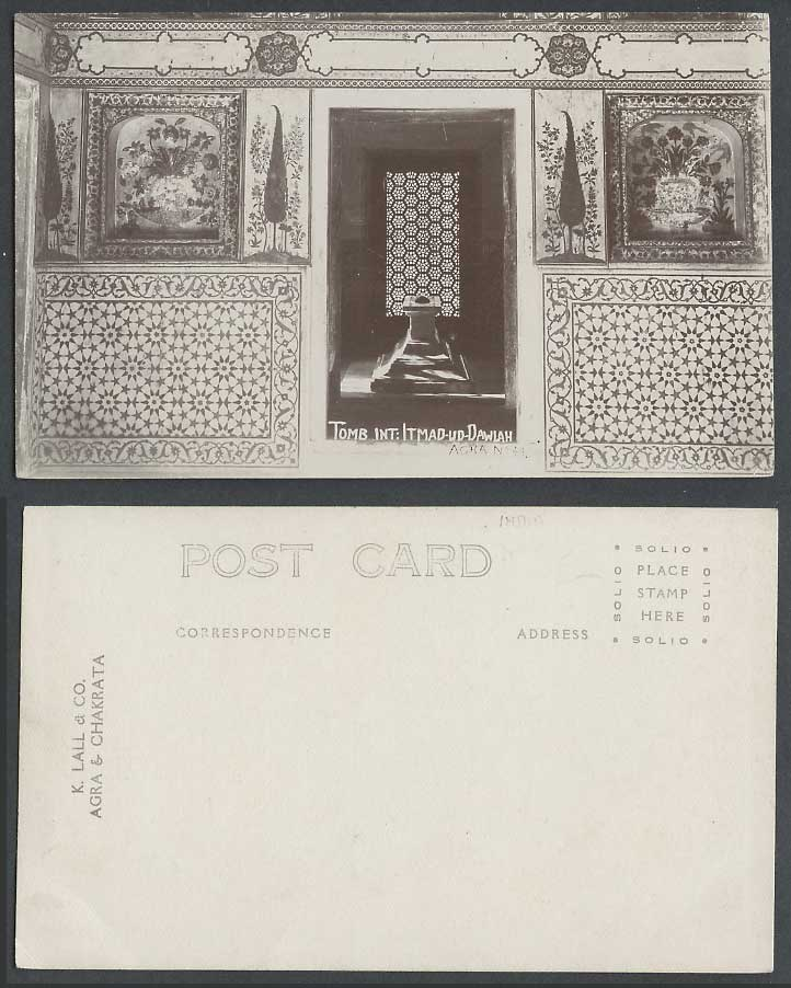 India Old Real Photo Postcard Interior of Tomb Itmad-ud-Dawlah Agra Flowers Pots