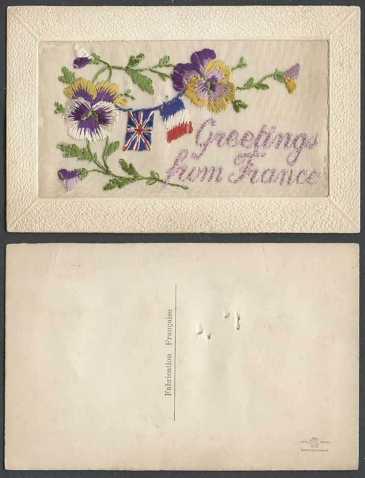 WW1 SILK Embroidered Old Postcard Greetings from France Flag Flags Pansy Flowers