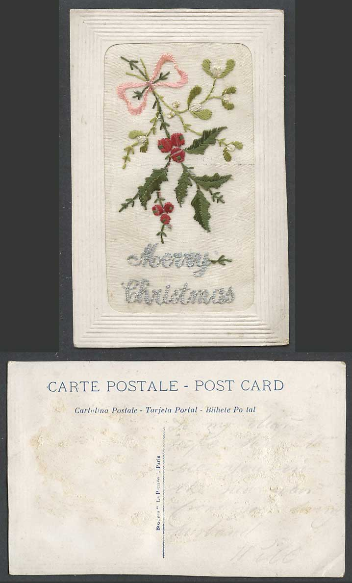 WW1 SILK Embroidered Old Postcard Merry Christmas, Holly, Novelty Greetings Knot