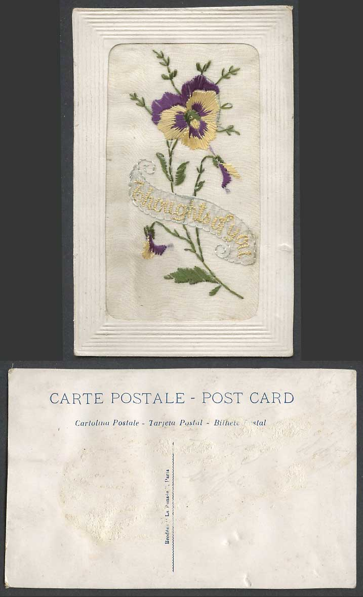 WW1 SILK Embroidered Old Postcard Thoughts of You Pansy Flower Novelty La Pensee