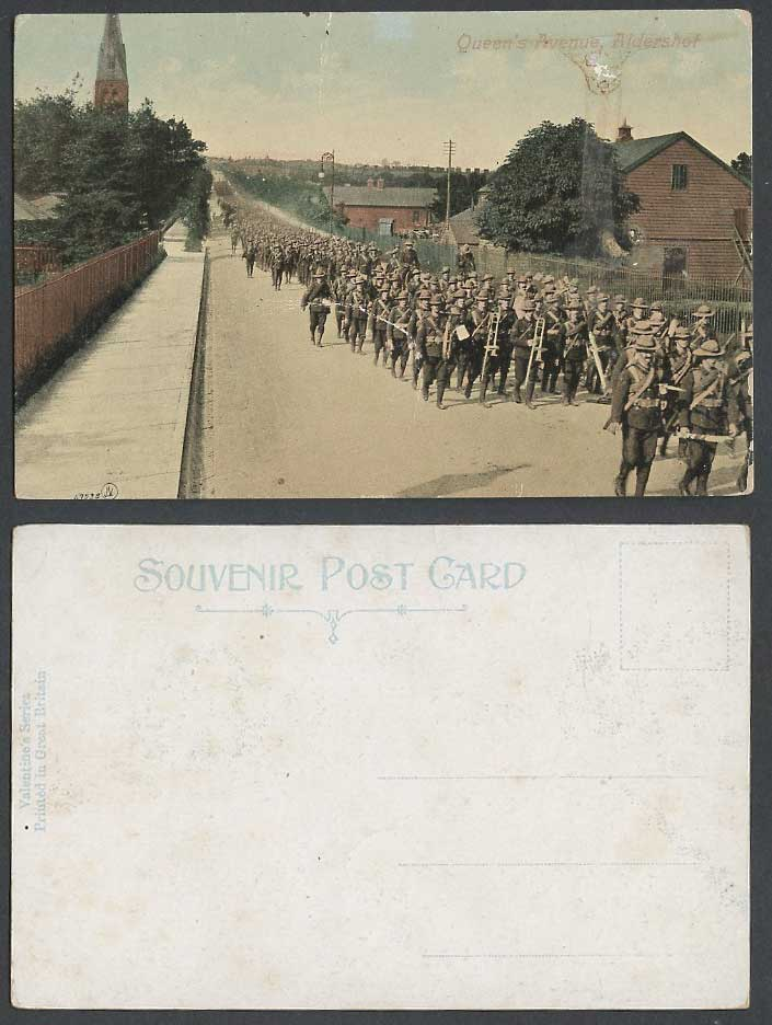 Aldershot Queen's Avenue Street Army Marching Band Hampshire Old Colour Postcard