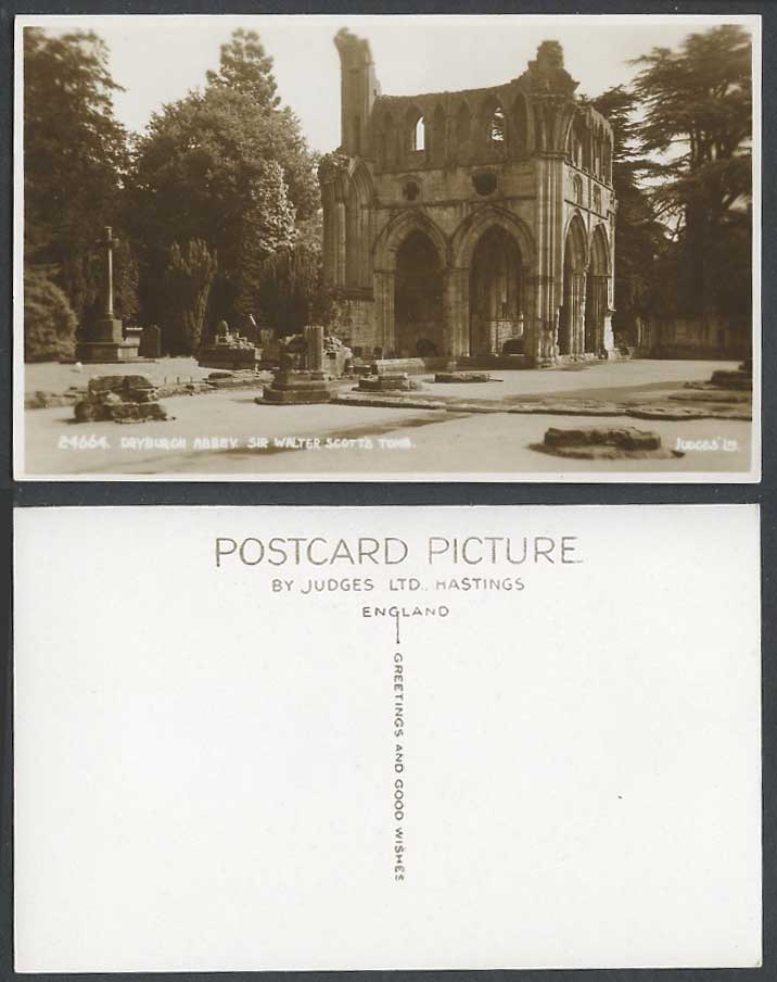 Dryburgh Abbey Sir Walter Scott's Tomb Church Ruin Cross Old Real Photo Postcard