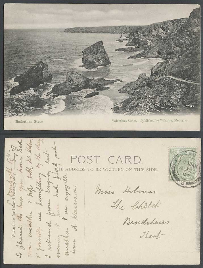 Bedruthan Steps Newquay Cornwall 1907 Old Postcard Cliffs Rocks Coastal Panorama