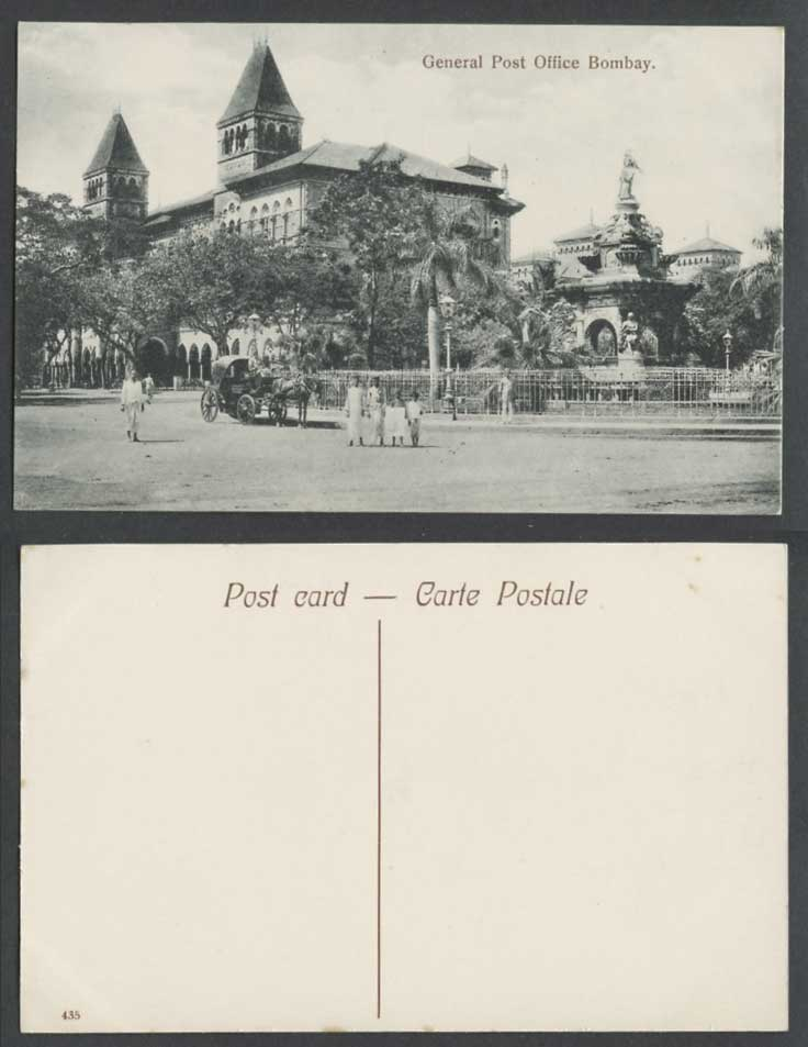 India Old Postcard GENERAL POST OFFICE BOMBAY GPO Statue Street Scene Horse Cart