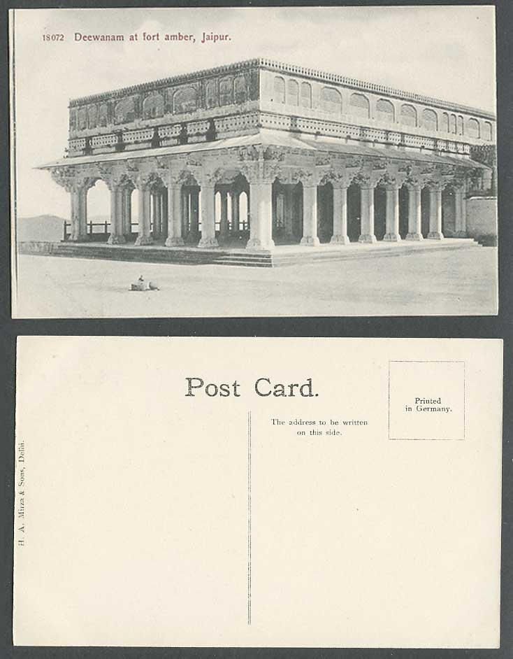 India Old Postcard Deewanam at Fort Amber Jaipur Jeypore Fortress HA Mirza 18072