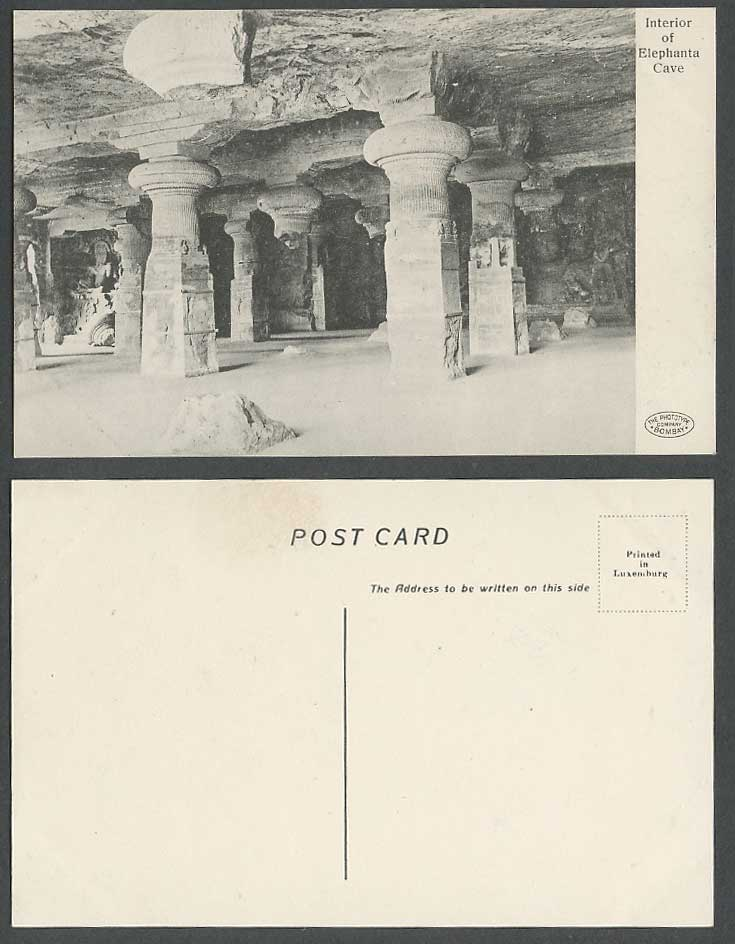 India Old Postcard Interior of Elephanta Cave Shrine Temple Caves, Phototype Co.