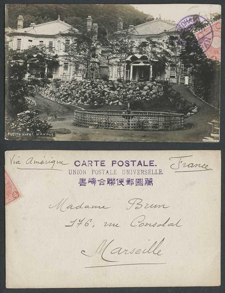 Japan to france 1907 old real photo postcard fujiya hotel for Hotel francs japan