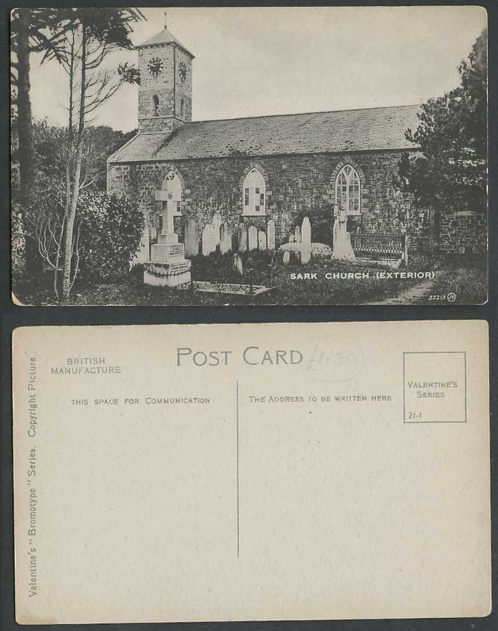 SARK Church Exterior, Churchyard Cross, Clock Tower Old Postcard Channel Islands