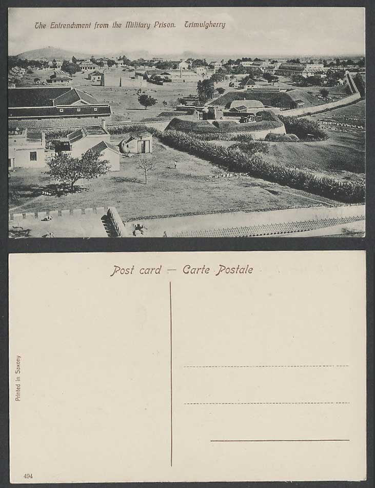 India Old Postcard The Entrenchment from The MILITARY PRISON TRIMULGHERRY No.494