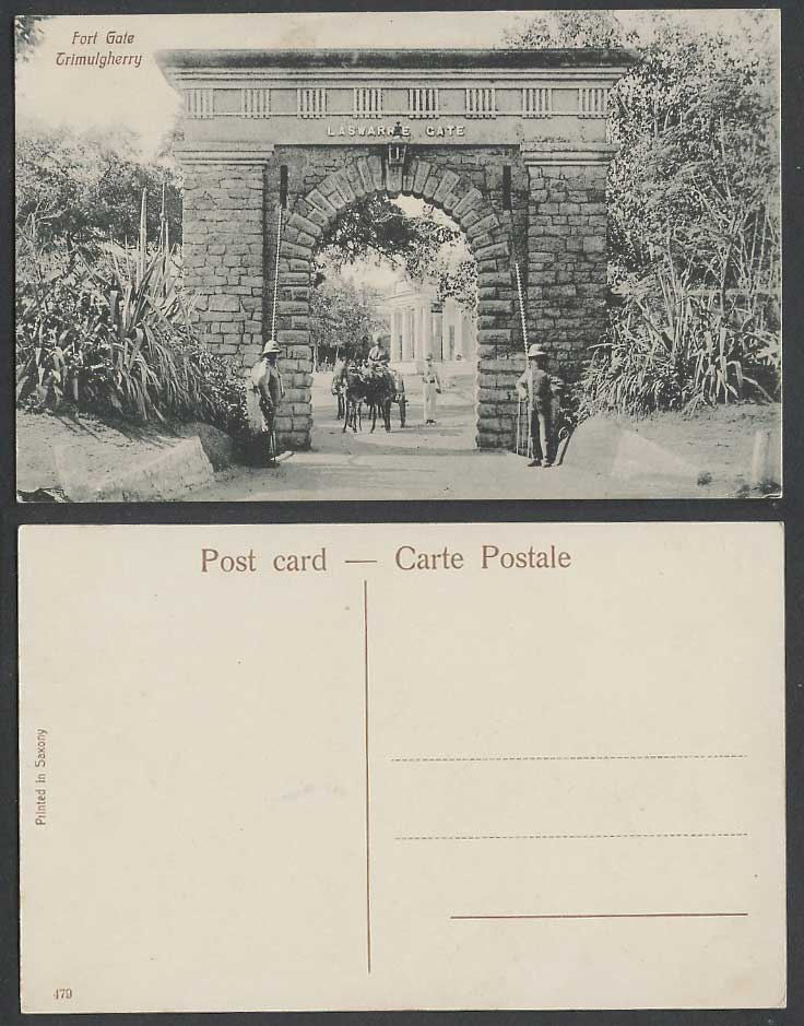 India Old Postcard Fortress Laswarrie FORT GATE Trimulgherry Soldier Guards Cart