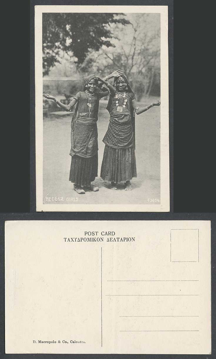 India Old Postcard Beggar Girls Native Young Ladies Dancing Traditional Costumes