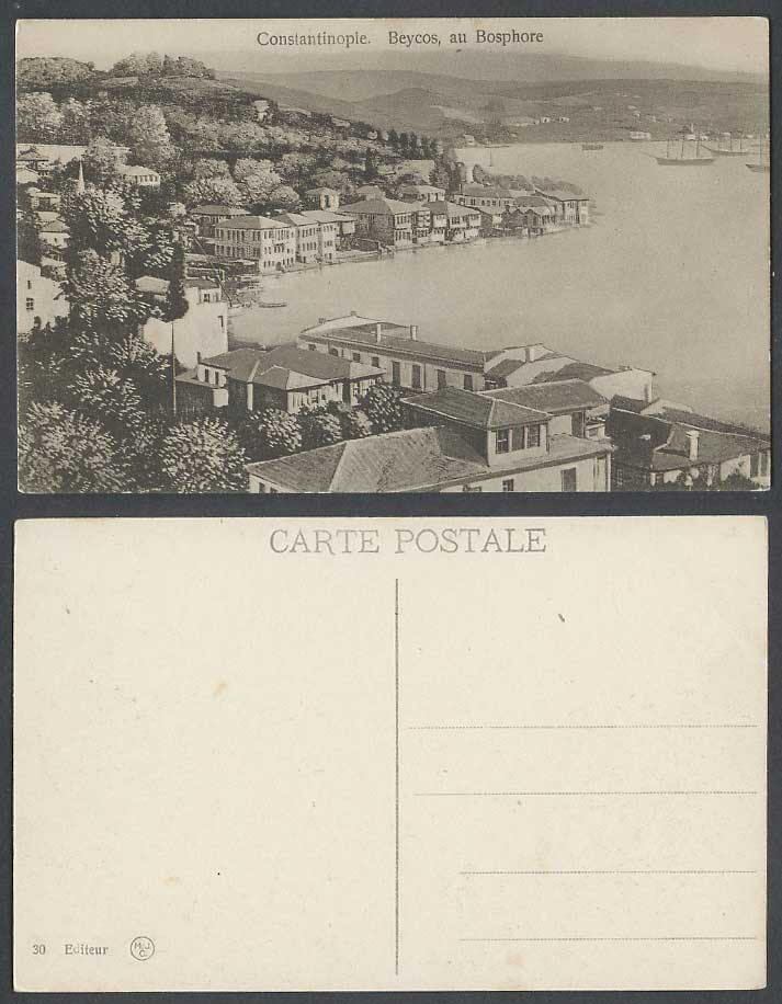 Turkey Old Postcard Constantinople Beycos au Bosphore Boats Harbour Panorama MJC