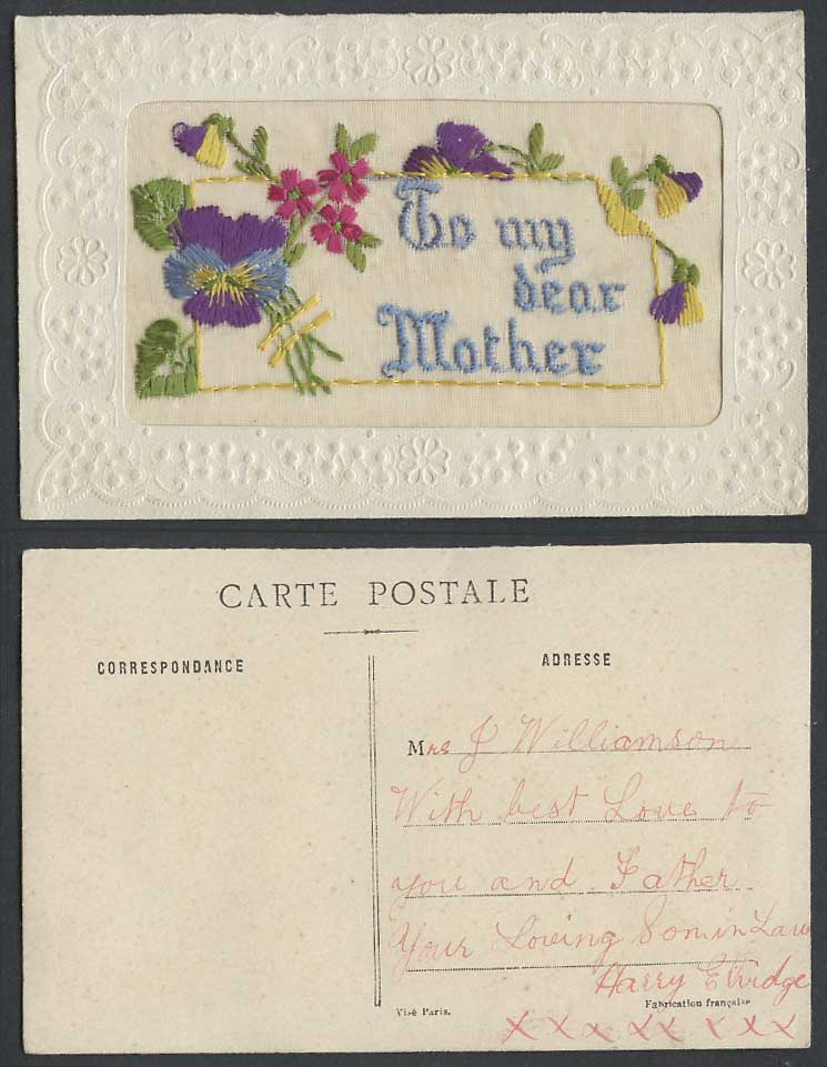 WW1 SILK Embroidered Old Postcard To My Dear Mother Pansy Flower Pansies Flowers