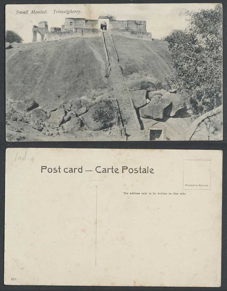 India Old Postcard Small Moulali Trimulgherry Steps leading to Entrance Gate 478
