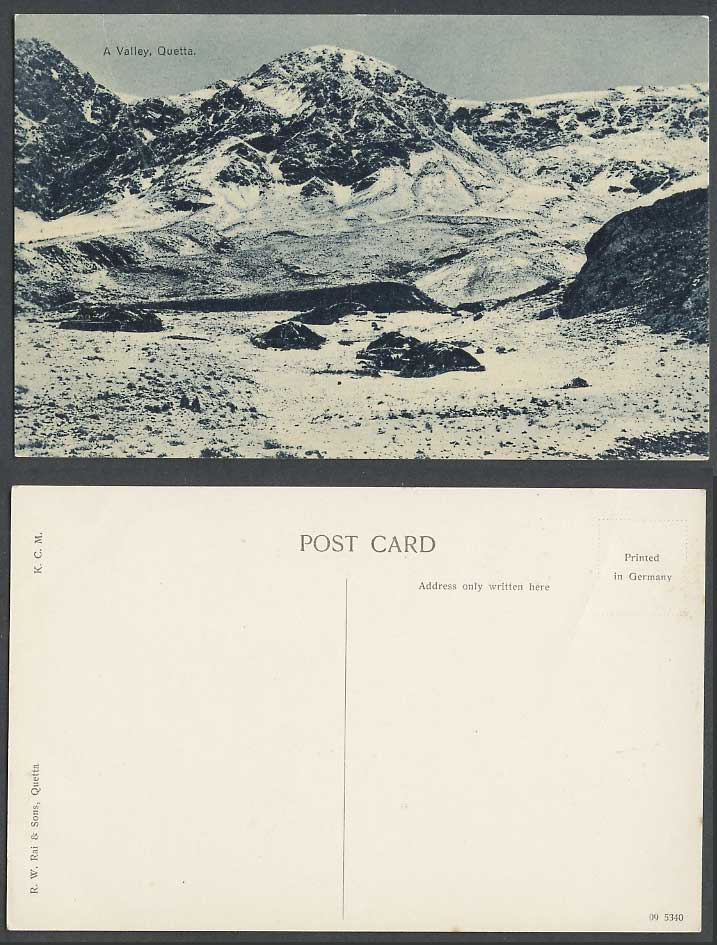 Pakistan Old Postcard A Valley Quetta Snowy Mountains Hills British India K.C.M.