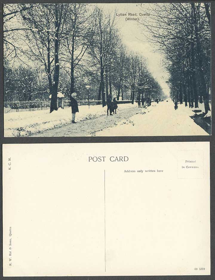 Pakistan Old Postcard Quetta Lytton Road Winter, Street Scene Snow British India