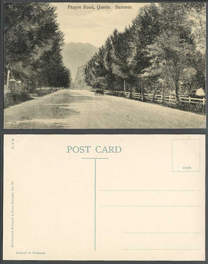 Pakistan Old Postcard Phayre Road Quetta Street Scene in Summer British India 29