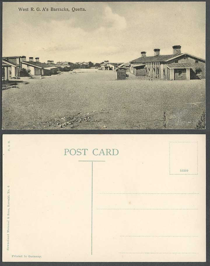 Pakistan Old Postcard Quetta West R.G.A. Barracks Royal Garrison Artillery India