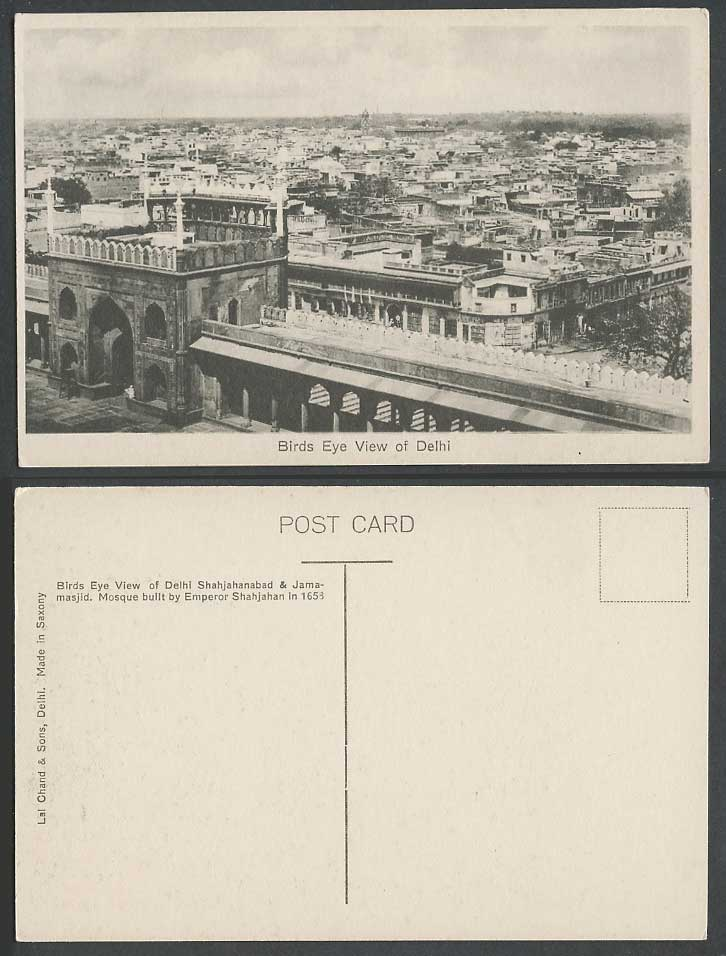 India Old Postcard Bird's Eye View of Delhi Panorama General View Entrance Gate
