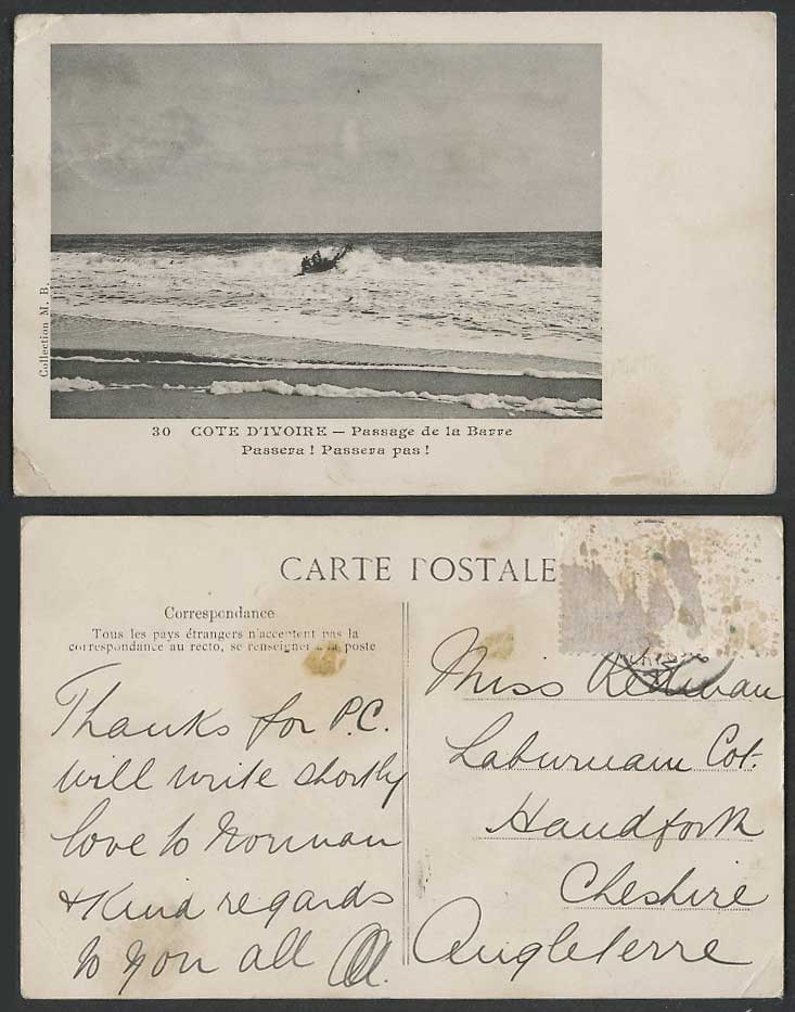 Ivory Coast Old Postcard Native Boat Canoe, Passage de la Barre, Rough Sea Beach