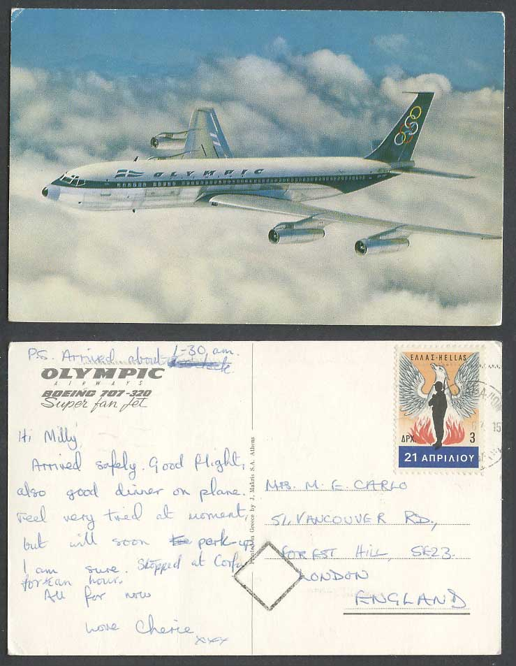 Olympic Airway Boeing 707-320 Super Fan Jet, Airplane Aircraft 1967 Old Postcard