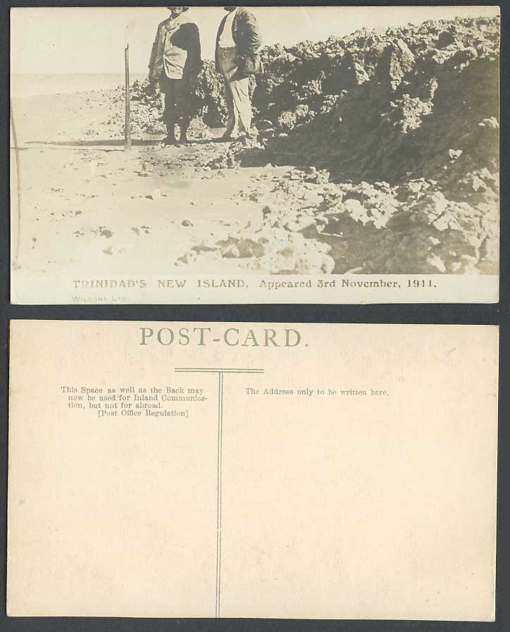 Trinidad's New Island Appeared 3rd November 1911 Volcano Old Real Photo Postcard