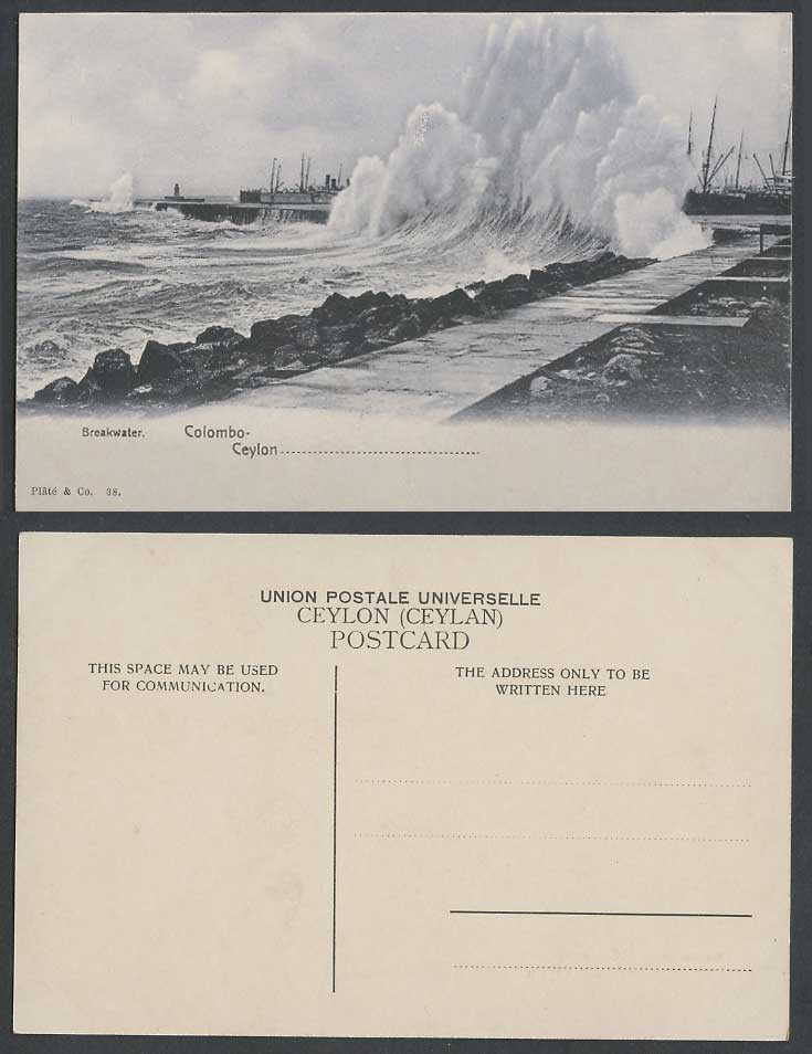 Ceylon Old Postcard Colombo Breakwater Monsoon Waves Lighthouse Rough Sea No. 38