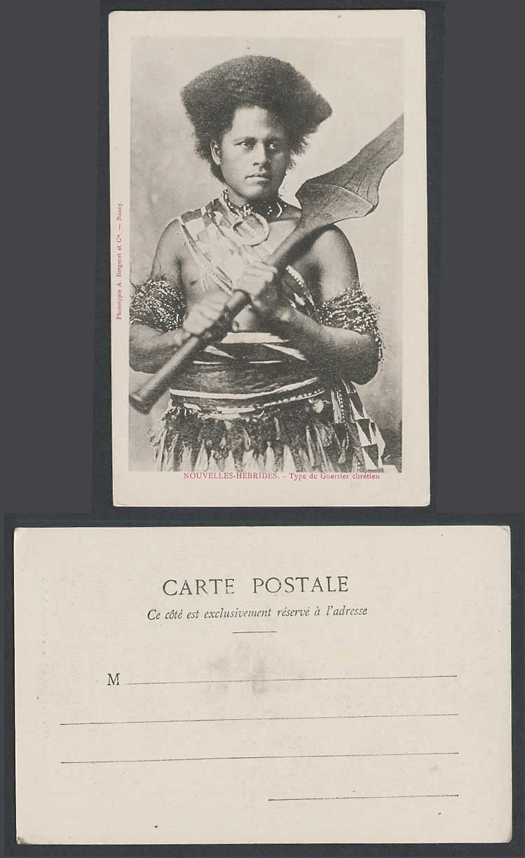 New Hebrides Christian Warrior Nouvelles-Hebrides Guerrier Chretien Old Postcard