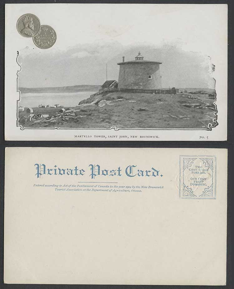 Canada Embossd 5c Coin 1903 Old Postcard Martello Tower Saint John New Brunswick
