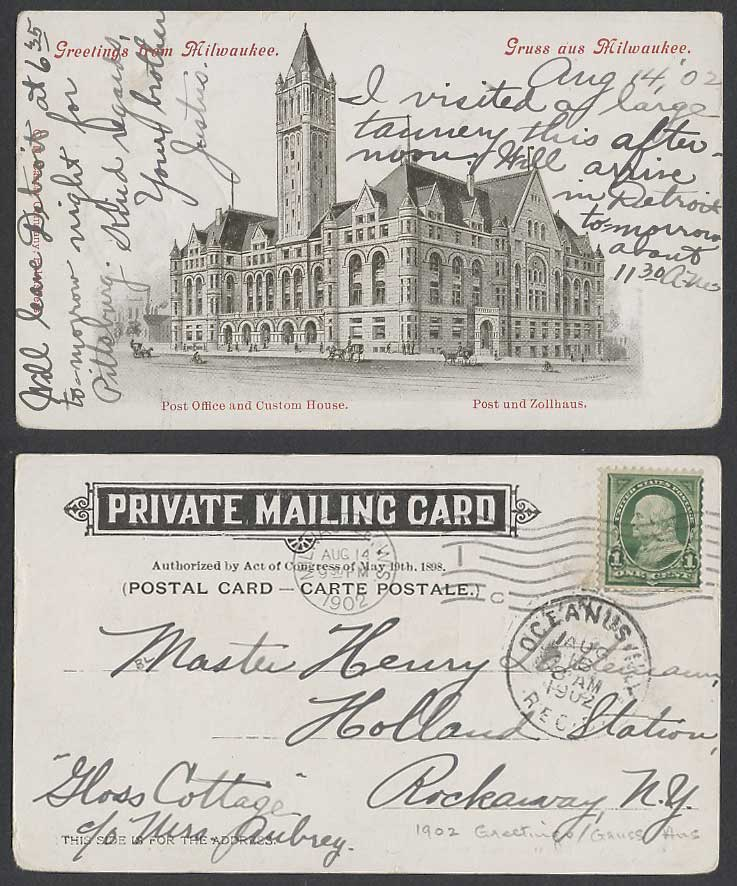 USA 1902 Old UB Postcard Wis. Milwaukee Post Office & Custom House Post Zollhaus
