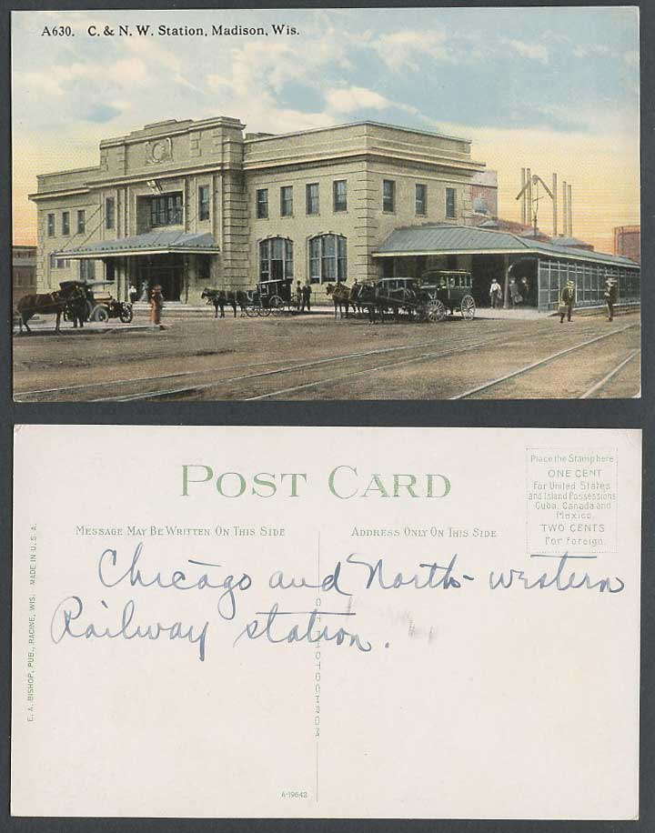 USA Old Postcard Chicago and North Western Railway Station Madison Wisconsin Car
