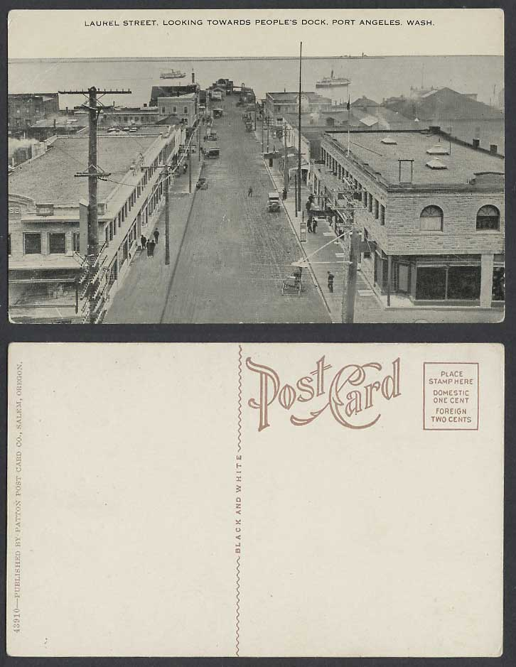 USA Old Postcard Laurel Street Scene People's Dock Port Angeles Wash. Washington