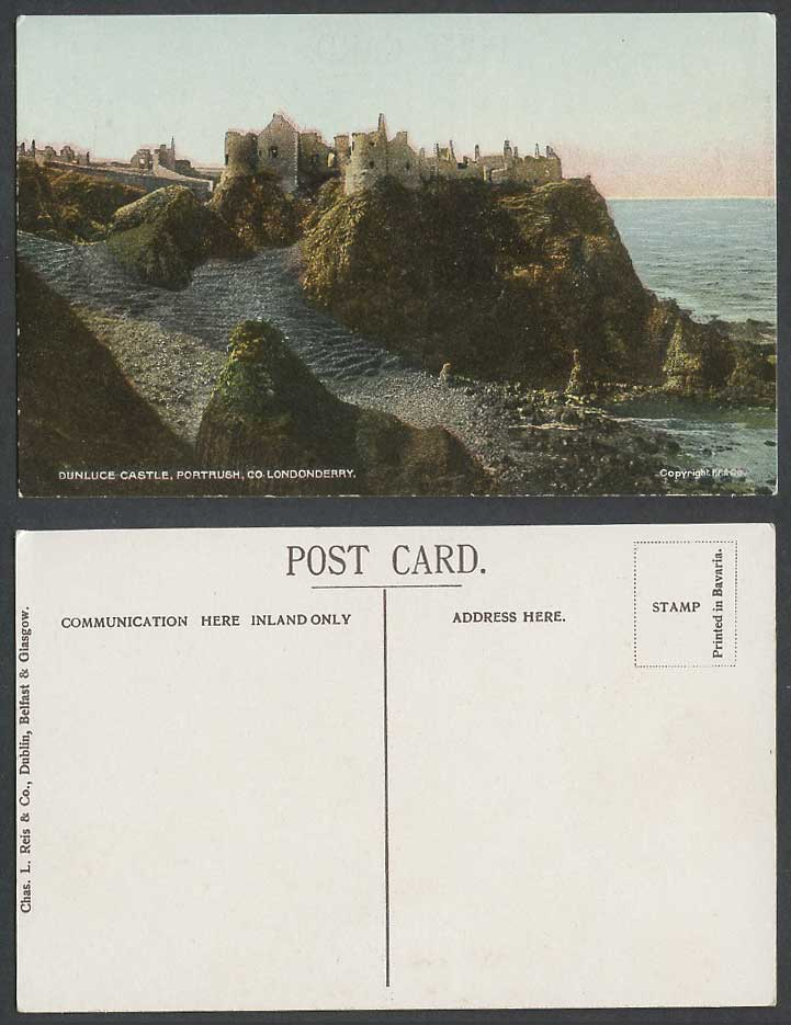 Northern Ireland Old Color Postcard Dunluce Ruins Castle Portrush Co Londonderry