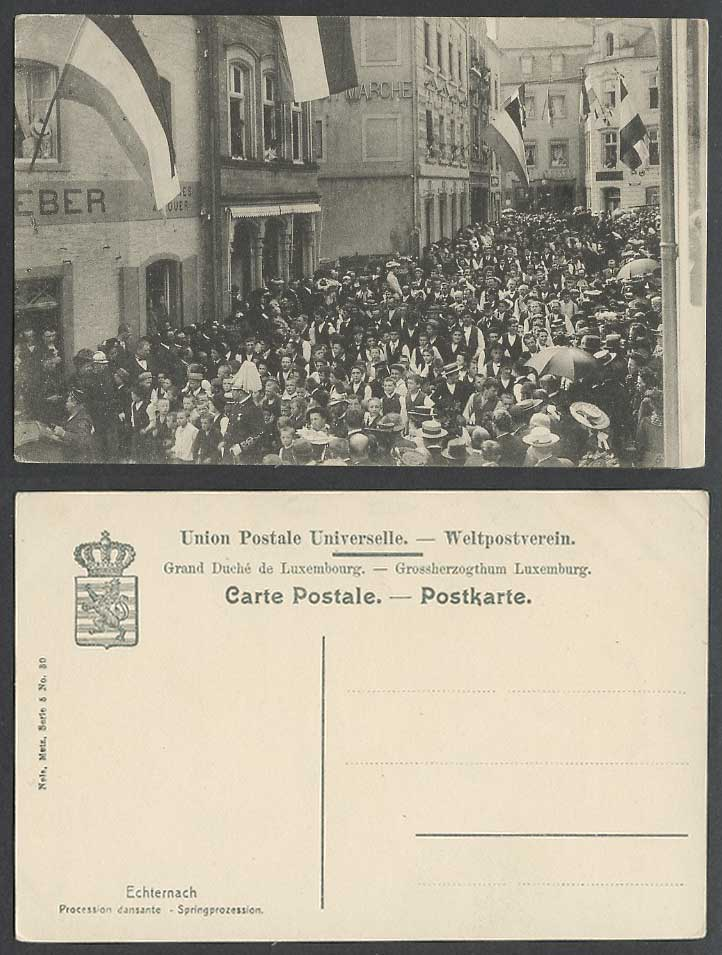 Luxembourg Old Postcard Echternach Springprozession Dancing Procession Flags St.