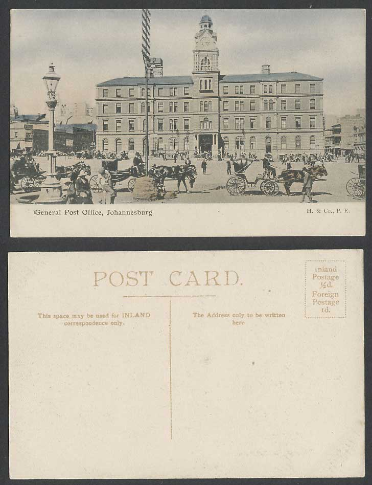 South Africa Old Hand Tinted Postcard Johannesburg GENERAL POST OFFICE GPO Carts