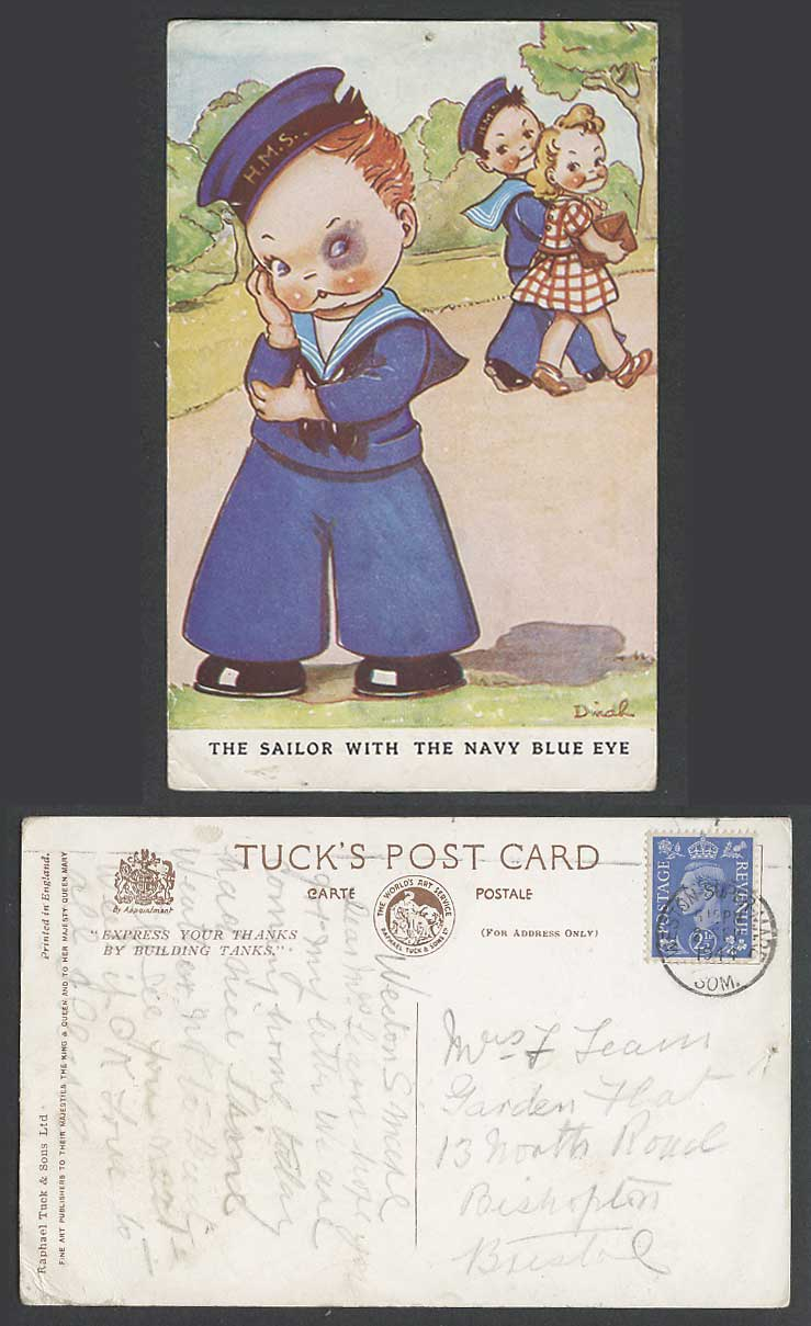 DINAH Artist Signed 1944 Old Tuck's Postcard Sailor with Navy Blue Eye, Romance