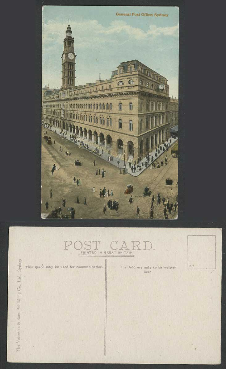 Australia Old Colour Postcard Sydney General Post Office Clock Tower Street TRAM