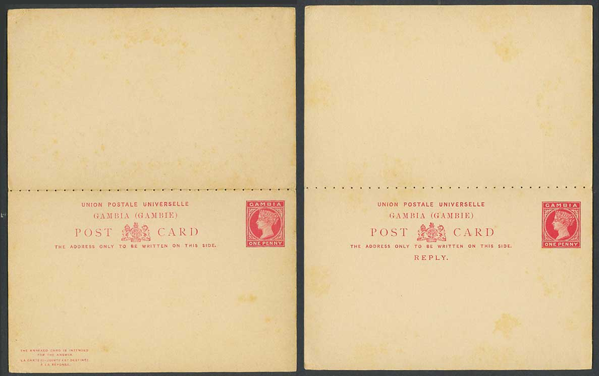 Gambia Queen Victoria 1d Old Vintage Postal Stationery Card plus Reply Card Mint