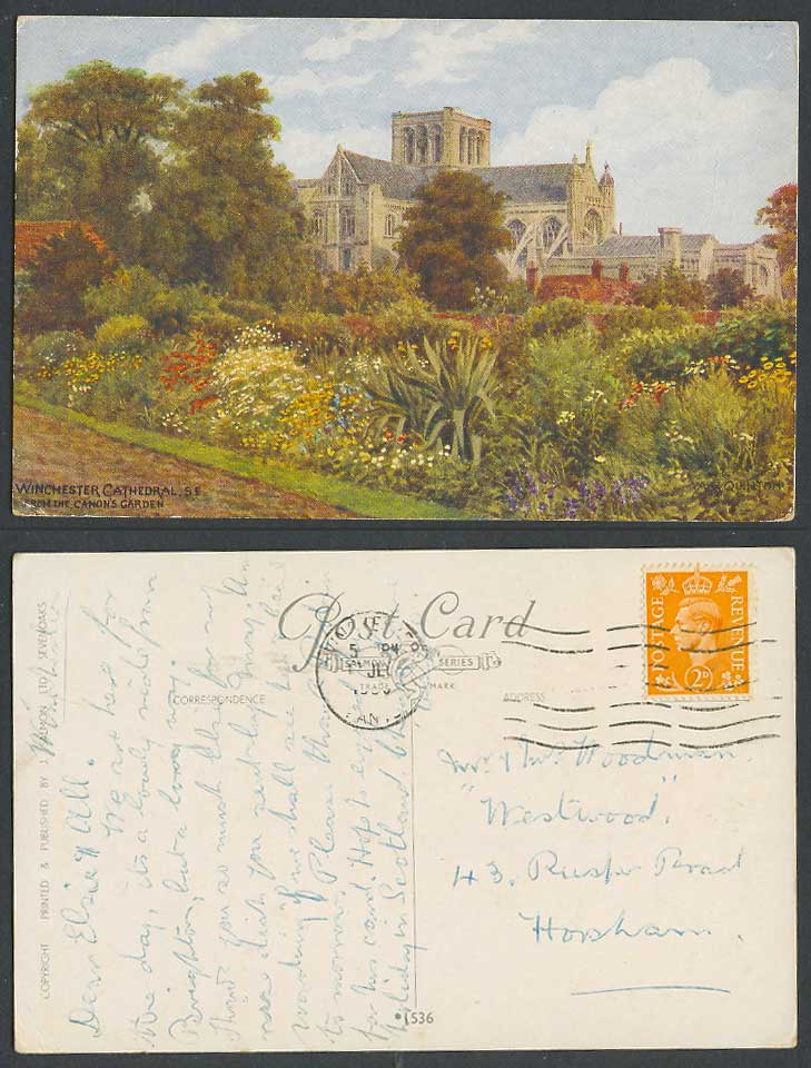 A.R. Quinton Winchester Cathedral from Canon's Garden, Flowers Old Postcard 1536