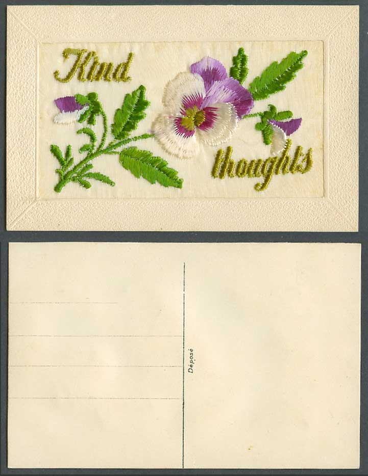 WW1 SILK Embroidered Old Postcard Kind Thoughts Pansy Flowers Novelty Greetings