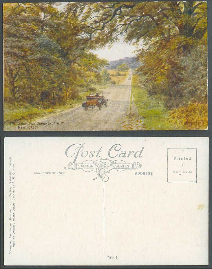 A.R. Quinton Old Postcard The Lyndhurst - Bournemouth Rd Road Motor Car ARQ 2864