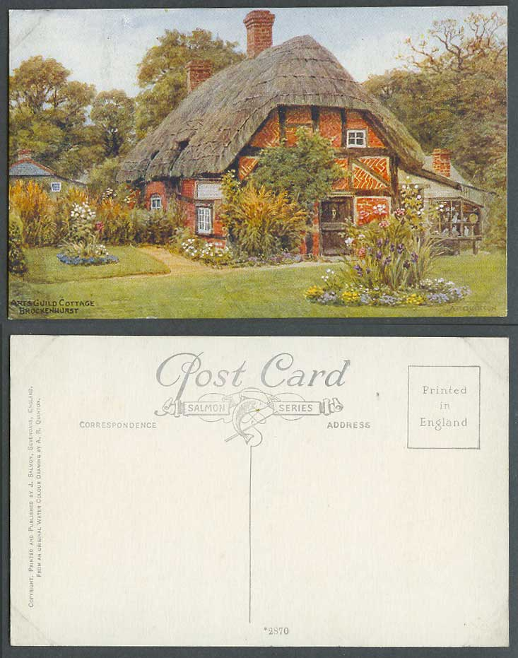 AR Quinton Old Postcard Arts Guild Cottage, Thatched, New Forest, Hampshire 2870