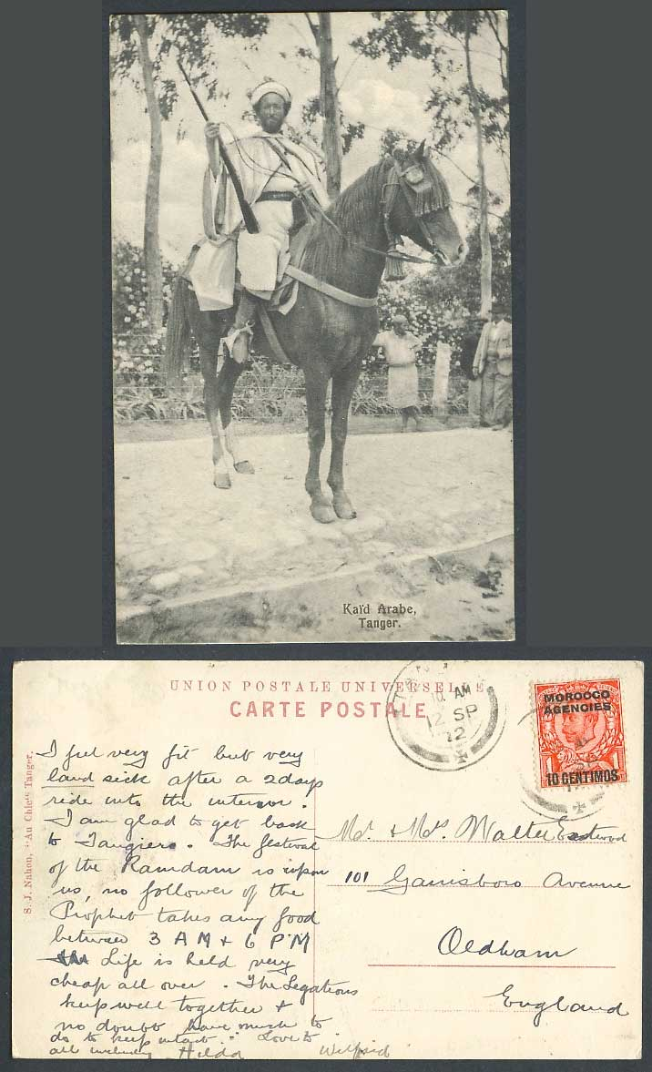 Morocco Agencies 10c on 1d 1912 Old Postcard Tanger, Kaid Arabe Arab Horse Rider