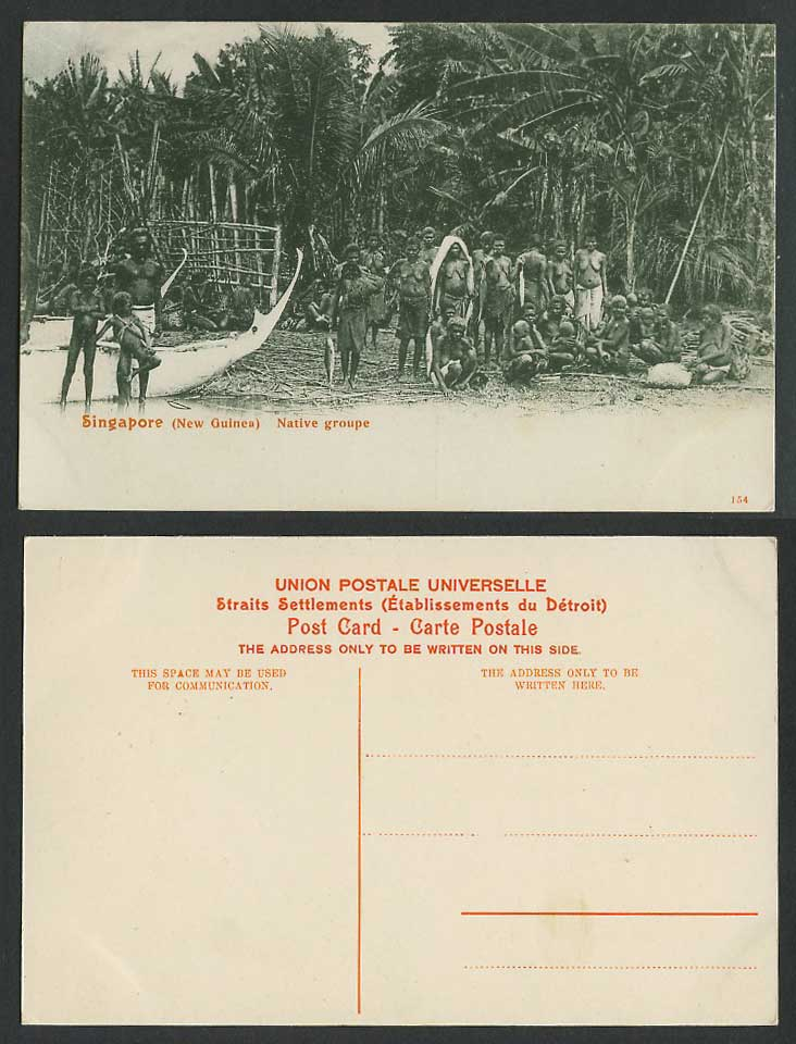 Singapore Old Postcard New Guinea Native Group of Men Women Children & Boats 154
