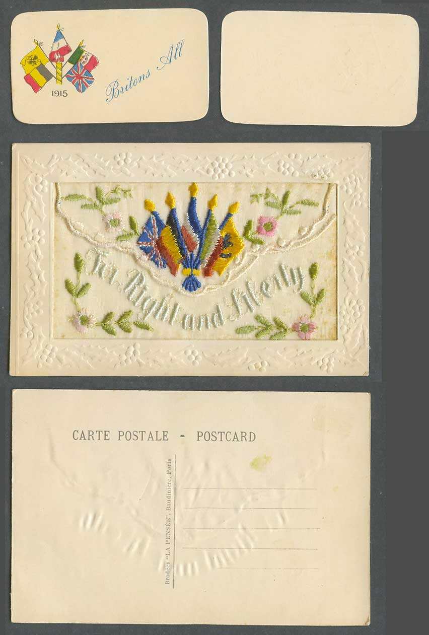 WW1 SILK Embroidered Old Postcard For Right and Liberty, Flags, 1915 Britons All